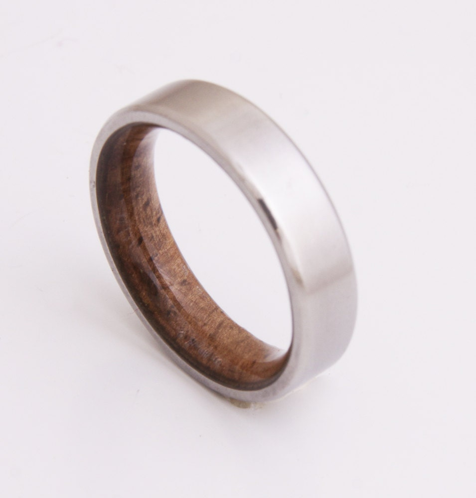 Titanium And Koa Wood // Mens Wood Rings //wood Wedding Band