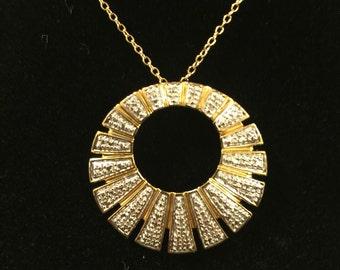 "Sun Pendant 925 Goldtone With 18.5"" Chain"