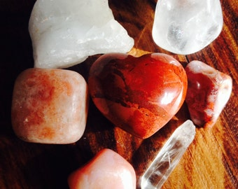 REIKI HEART SET.  Heart gemstones for Love, Passion and Romance. 9 stone set.