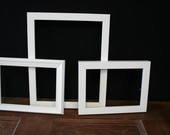 Set of 3 White Picture Frames - #110
