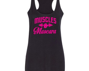 Muscles & Mascara,workout shirt, fitness shirts, fitness t-shirt, fitness tee, gym shirts, fitness shirts for women, gym clothes, gym shirts