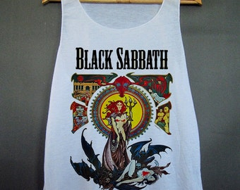 Black Sabbath Poster Concert Artwork Hipster Swag Dope Funny Workout Graphic Tee Girl T Shirt Tshirt White Tank Top Women