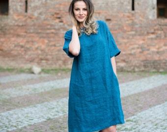 Linen dress. Oversized tunic dress. Soft linen. Washed linen tunic. Round neck dress.