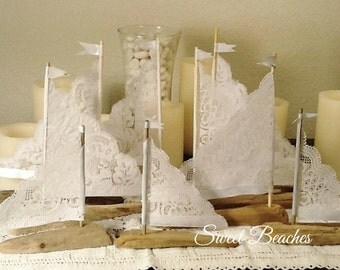 Petite Fleet of 4 White Lace Driftwood Sailboat Seaside Nautical Resort Decor Wedding Center Peice