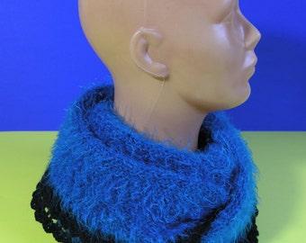 Fluffy scarf,handmade,knitted scarf-neck warmer,crocheted around with black yarn,especially soft