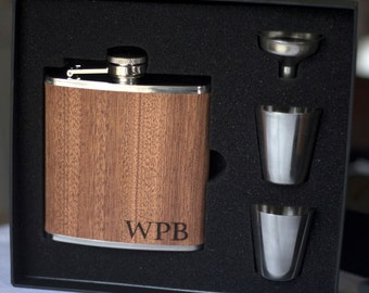Flask, Personalized Flask, Leather Flask, Wood Wrap Groomsmen Flask, Gift Set Wedding Party Gift ...