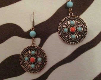 Copper Medallion Earings with coral and turquoise