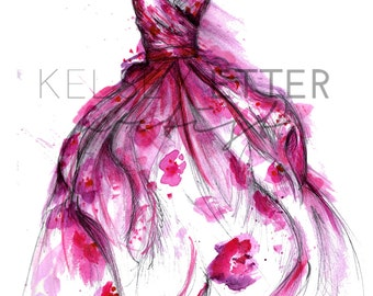 INSTANT DOWNLOAD Fashion Illustration-Flower Gown