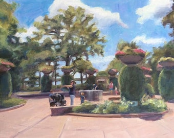 Park Day, Acrylic painting, 16 x 20, Original Art