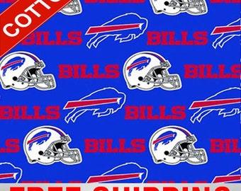 "Buffalo Bills Cotton Fabric Style NFL BILLS-6377 60"" Wide. Free Shipping"
