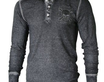 Men's Light Weight Thermal Henley - Black - DreamSupply Clothing