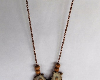 "20"" Deer Antler Necklace on Brass Chain # 1/5"
