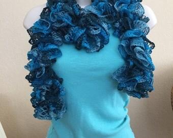 Ruffle Scarf in Turquoise, Teal, Aqua, Sky Blue