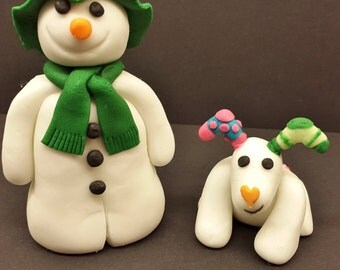 Snowmand and Snowdog edible cake topper