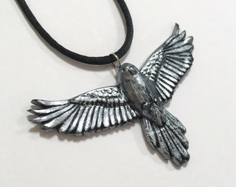 Flying Bird Pendant, Black and Silver Necklace, Polymer Clay, Bird in Flight Necklace
