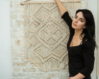 Macrame wall hanging, macrame wall art,  bohemian wall hanging Ethnic Pattern, boho bedroom decor, macrame curtain, vintage style macrame