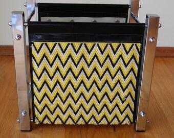 Retro Magazine Rack,  Chrome Magazine Rack with Yellow Chevron Pattern- 1970's Mid Century Magazine Rack- Flower Power Magazine Rack