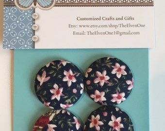 Fabric Covered Button Magnets - Navy Blue with Pink and Red Flowers