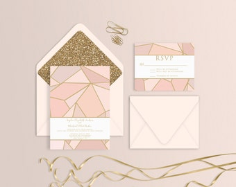 Blush Stained Glass Wedding Suite - Set of 25 or Digital