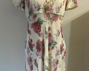 1980s Donna Ricco Floral Dress/80s Floral Dress/Vintage Donna Rico Dress