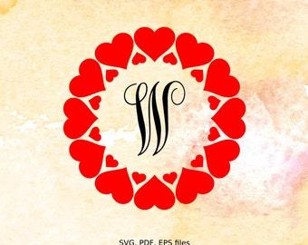 Hearts Circle Monogram Frame, Valentine svg file, cutting file for silhouette, svg file for cricut,  pdf, eps, love svg, valentine monogram