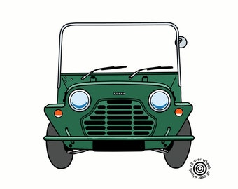 Mini MOKE T-SHIRT vintage 1960s Mini Moke car DTG printed, choice of colors. Classic Mini Moke art by WheelsAllOver