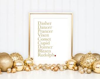 Christmas Deer Printable Art Print, Deer Printable, Reindeer Names, Rudolph Red Nosed Reindeer, Santa's Reindeer, 8x10, Gold Glitter & White