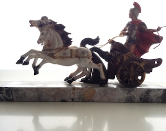 Roman chariot with marble base | vintage home decoration | vintage statue