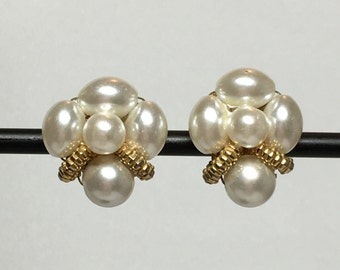 Vintage Faux Pearl Gold Cluster Earrings 1950s