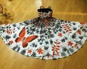 VERY RARE! Stunning Novelty Print Vintage 1950s 50s Party Butterfly dress Border Print