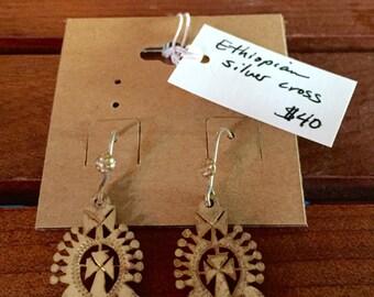 Ethiopian silver cross earrings
