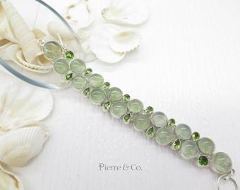 Prehnite and Peridot Sterling Silver Bracelet
