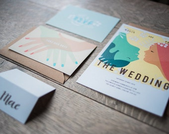 Personalised Wedding Stationery incl. Save the Date, invite, RSVP & place setting inspired by Vintage Hollywood Movies and Films