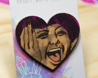 Hand Coloured Heart Comic Brooch