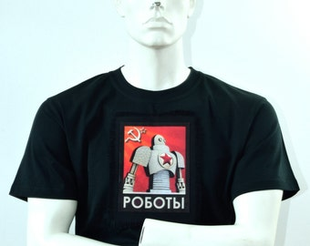 Iconic Retro T-shirt in Black - Russian Soviet Robot CCCP Design - Mens Robot T-shirt - Space Race - Handmade in the Scotland
