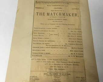 The Matchmaker Theatre Program 1800s