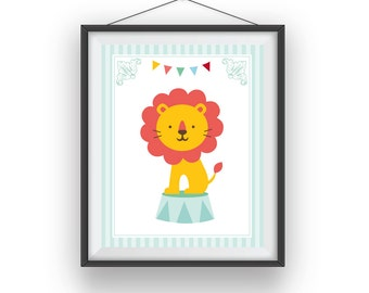 Circus Print, Circus Lion wall print, Carnival room art, playroom decor, nursery art, wall decor, children wall art, 8x10 print