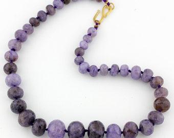 Large Purple Agates Necklace, checkerboard gem cut, gold tone clasp. KA7993/15