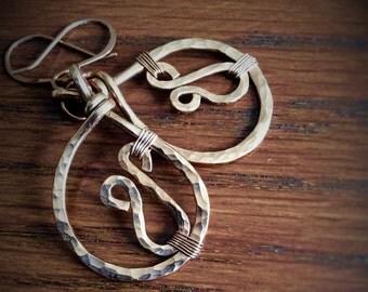 Handmade Hammered Copper Tear Drop Earrings