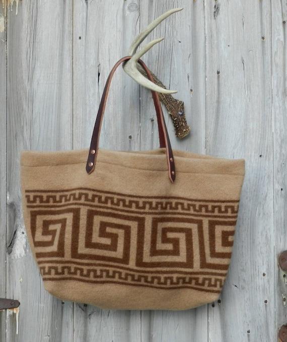 Salvaged Wool Aztec Bag