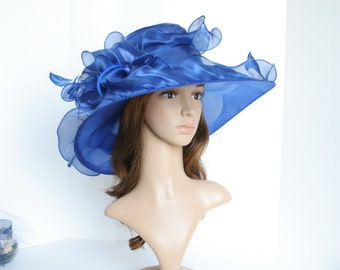 """New Kentucky Derby, Church, Wedding, Tea Party with Jumbo Ascot & Feather 5~6"""" Wide Brim Organza Hat ( Royal Blue )"""