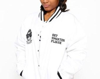 ILoveCollege White Waterproof Varsity Jacket