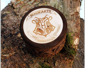 Small jewerly box for Harry Potter's fans Wooden Custom box wooden gift box Craft box Ring box Carved box Personalized Harry Potter gift