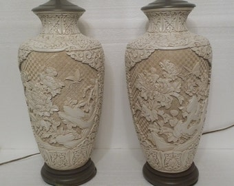 Mid Century Chinoiserie Hollywood Regency Carved Plaster Lamps