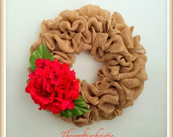 Burlap Wreath-Spring Burlap Wreath-Burlap Hydrangea Wreath-Burlap Wreath for Front Door-Front Door Spring Wreath-Rustic Burlap Wreath