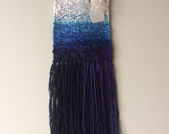 West-Coast inspired ombré woven wall hanging with sea glass