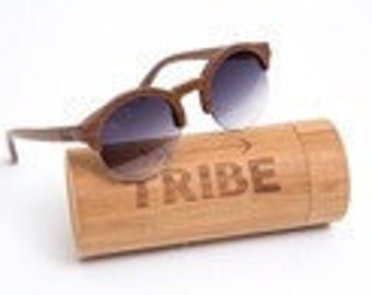 Tribe half moon wooden polarised sunglasses