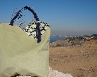Handmade Purse/Tote Bag - Green Suede with Cute Blue, Green and White Print Lining