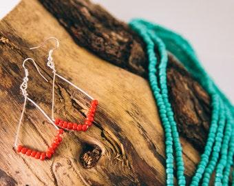 Red Tribal Earrings