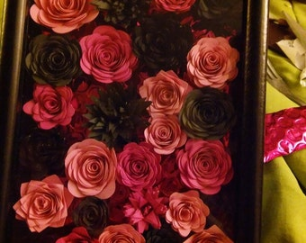 Paper Flowers in Shadow Box  5x7 Frame